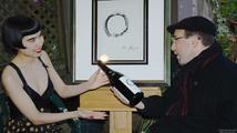 Craig Newmark receives Magnum of Au Bon Climat Around the World Pinot Noir from Drue